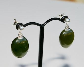 Solid Jade Drop Earrings