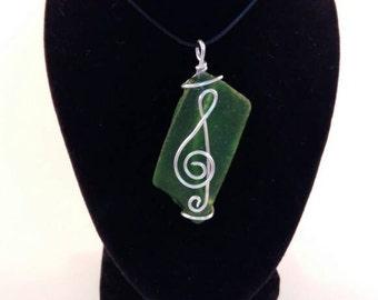 Treble clef beach glass pendant