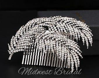 Feather Wedding Hair Comb Rhinestone Crystal Silver Wedding Hair Piece Jewel Rustic