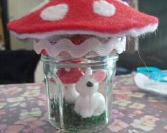 Teeny Bunny Toadstool fairy jar
