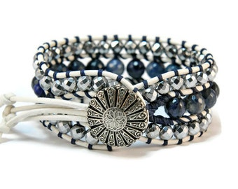Boho Silver Galactika * Hematite & Jade. 3 strand Wrap Bracelet. Boho Style. Bohemian Jewelry. Gift for her. Cuff Bracelet.