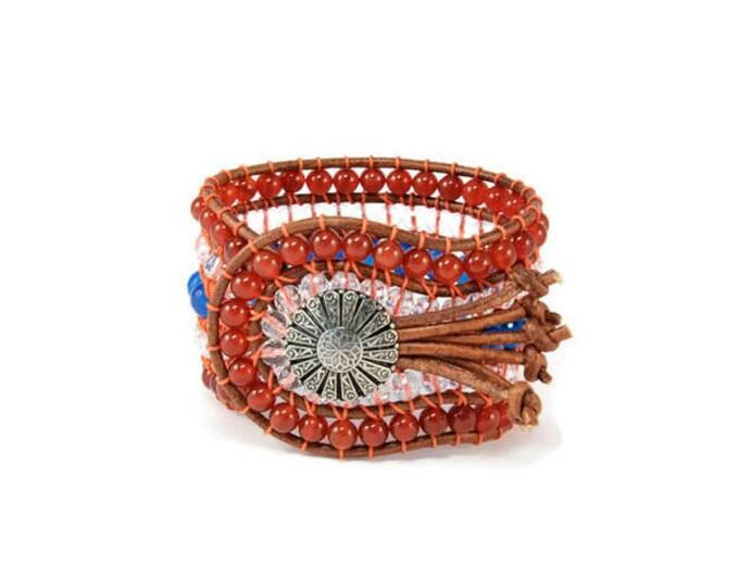 Boho South East * 5 strand Statement Bracelet. Boho Style. Bohemian Jewelry. Semiprecious stones. Gift for her. Unique Design.