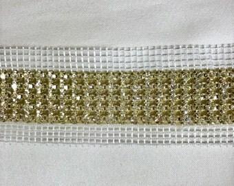 5 Row Rhinestone Banding Trim /Clear Crystal /Gold setting