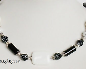 Necklace chain gemstone necklace black white black white agate coral Onyx Butterfly silver plated bead caps festive celebration
