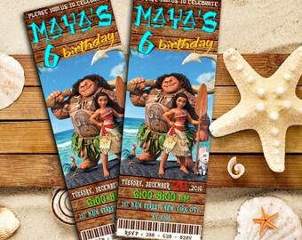 Moana Invitation Party Birthday Disney Ticket