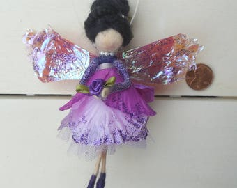 Bellflower Purple Felted Wool Flower Fairy Decoration