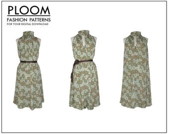 Swing Dress by Ploom Patterns. PDF sewing pattern, easy, womans dress, high fashion, fashion dress, modern, ladies dress, high neckline