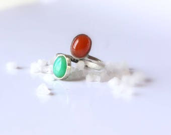 Ring two stones, two stones ring, red and green ring, Carnelian, chrysopale, red onyx, silver ring, red and green ring