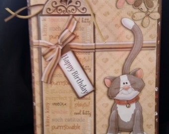 Cat theme Happy Birthday Card and Bookmark-Decoupage-Greeting Card-Handmade-Cat Lovers-Book Lovers, Keepsake
