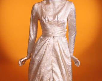 Vintage 1950's Wedding Dress. Ivory Embroidered Floral Satin with Tulip Skirt. Made in France. UK 6 US 2.