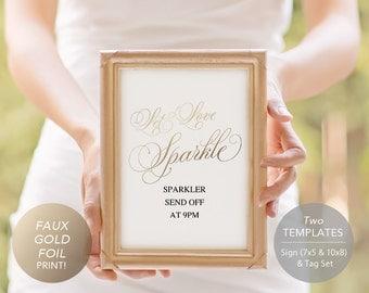 Gold Sparkler Send Off Sign, PDF Template, Sparkler Sign, Let Love Shine, Sparkler Send Off, Wedding Sparkler Tags, Instant Download, foil