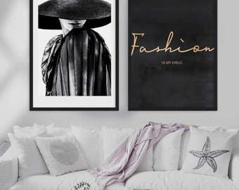 Black and White Fashion Print , Fashion Photography , Fashion ilustration , modern design , French , Large Poster , Vogue , fashion portrait