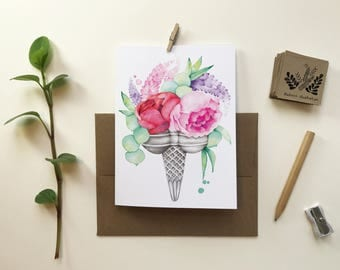 Double Peony ice cream greeting card / greeting card / blank card / Bouquet flowers / birthday party / Katrinn illustration