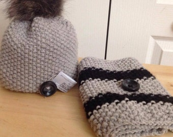 Duo tuque wool with Pompom scarf and removable fur infinity knitting