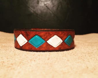 Turquoise and White Diamond Leather Bracelet Cuff