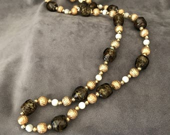 """Signed """"Napier"""" 1970's amber art glass and moonstone beaded necklace"""