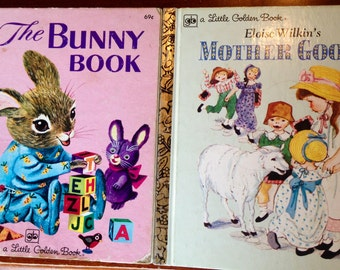 Vintage Little Golden Books Mother Goose and The Bunny Book 1979 & 1980