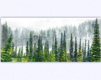 Forest print, watercolor forest, watercolor printable, wall art, watercolor nature, lake print, watercolor print, Digital Download