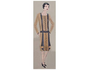A charming dress from 1928,  ready-made printable pattern