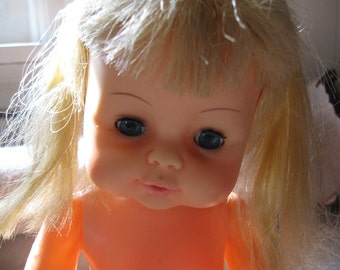 Vintage 1969 Horsman Doll Pigtails Blonde Sleep Eyes Horsman Inc. Doll Free Shipping  for doll collector