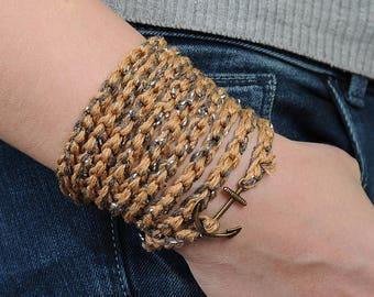 Anchor Crochet Bracelet Brown wrist Wraps bracelet Eco friendly bracelet Simple jewelry Handknit bracelet bohemian wrap crochet jewelry