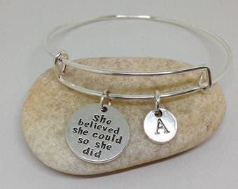She Believed She Could So She Did Personalized Initial Bracelet Personalized Necklace