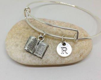 Book Bangle or Necklace, Open Book bracelet, Open Book Bangle personalized bracelet, initial bracelet, Journalist Bracelet