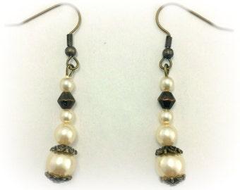 Beaded Vintage Pearl Earrings
