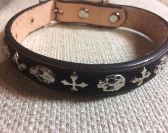 "Leather Dog Collar skull. Handmade, fits small dog 6""-9"""