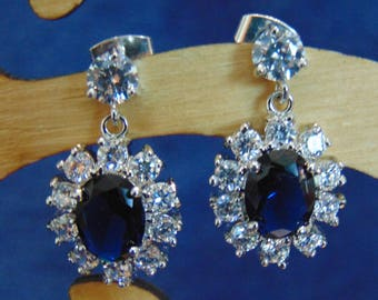 Kate Middleton Inspired Sapphire & Cubic Zirconia Oval Earrings
