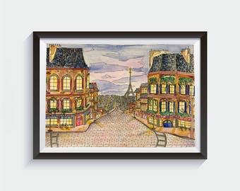 Paris Street at Night Watercolor Painting Original