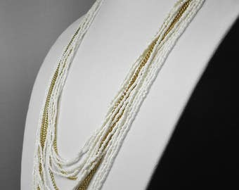 Vintage Seed Bead Necklace White and Gold tone