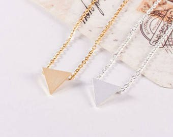 PROMO! Alison female silver plated triangle necklace chic timeless understated elegant woman