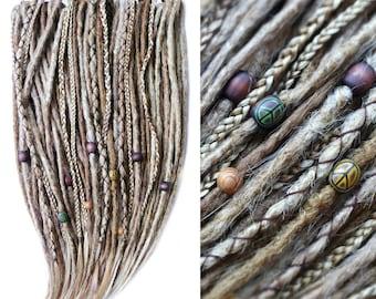 10-70 DE SYNTHETIC DREADLOCKS - Peace'n'Love / • custom • crocheted • blond • hippie • natural look • dreads • extensions • / dread-store