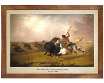 Buffalo Hunt, John Mix Stanley, 1845; 24x36 inch print reproduced from a vintage painting