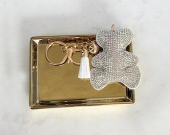 Teddy Bear Bedazzled Keychain