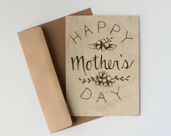 Mothers Day Gift, Happy Mothers Day, Unique Wood Card, Gifts for Mom, Mothers Day Card Floral, Mothers day from daughter, from son