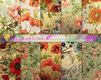 VINTAGE Floral Digital Paper. Floral Decoupage Download. Gold Digital Paper. Vintage Digital Scrapbook Papers. Floral Patterns Digital F-178