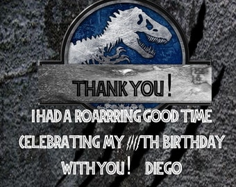 Jurassic World Thank You Card  Personalized Printable- Jurassic World Birthday Party- Jurassic World Party Printable- Digital