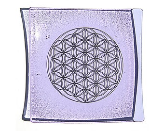 Violet glass plate with platinum Flower of Life