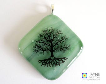 Tree of Life pendant, sparkling green glass, symbol of growth, tree of life jewelry, tree necklace, fused glass, wood element, hift for her
