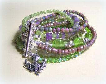 MULTI STRAND BRACELET ... lilac and green