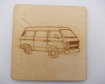 T25  Camper Coaster - Etched wood