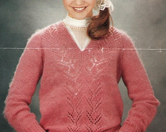 a3667a804d216b Knitting Pattern Ladies DK  Light Worsted Weight 8 Ply Jumper ...