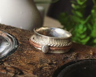 sterling silver and copper double spinner ring