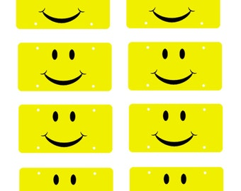 scale model smiley angry or smirky car license tag plates