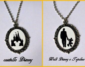 Disney Mickey Mouse Walt Disney Disneyland Castle silhouette necklace