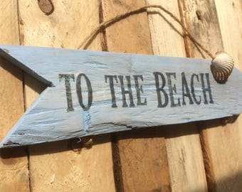 Rustic 'To The Beach' sign, made from reclaimed pallets.