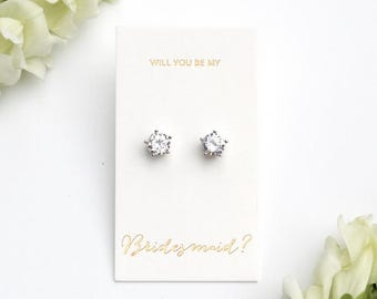 """Ivy - 18K White Gold Plated, Cubic Zirconia """"Will you be my bridesmaid?"""" Gift Earrings"""