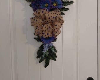 Blue flower Swag, Front Door Wreath, blue Wreath, swag